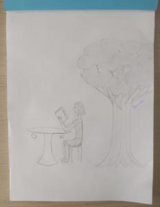 Belodie Reading Under A Tree